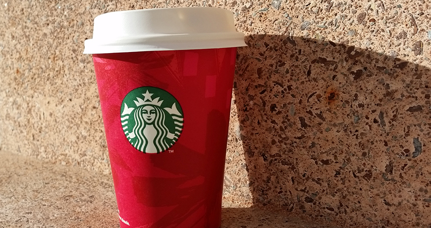Caramel Brulée Latte in a Red Cup