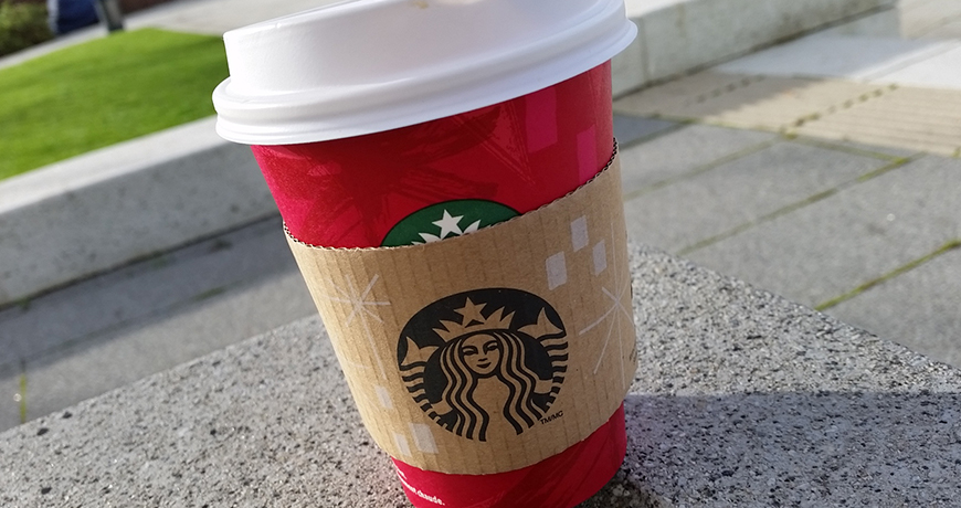 Praline Mocha in a Red Cup