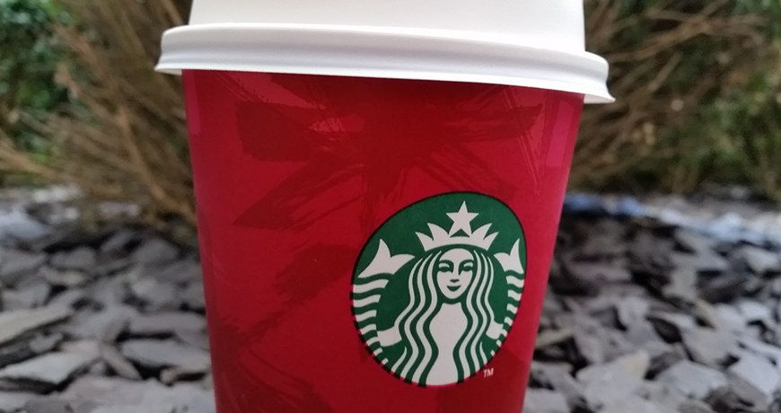Chestnut Praline Latte in a Red Cup